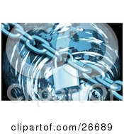 Clipart Illustration Of A Strong Chain And Padlock Surrounding A Blue Planet by KJ Pargeter