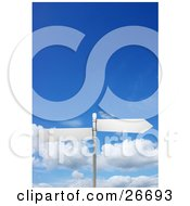 Clipart Illustration Of Two Blank Arrow Street Signs On A Post Over A Cloudy Blue Sky Background by KJ Pargeter