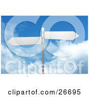 Clipart Illustration Of Two Blank Street Signs On A Post Over A Cloudy Blue Sky Background by KJ Pargeter
