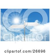 Two Blank Arrow Street Signs On A Post Over A Cloudy Blue Sky Background With A Burst Of Sunlight