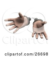 Pair Of Sprawled Hands Cuffed In Silver Handcuffs Over A White Background