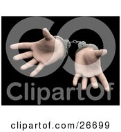 Pair Of Sprawled Hands Cuffed In Silver Handcuffs Over A Black Background