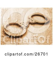 Clipart Illustration Of A Pair Of Police Handcuffs With A Peeling Paint Texture In Orange Tones