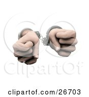 Pair Of Hands Clenched In Fists And Cuffed In Silver Handcuffs Over A White Background