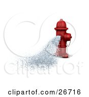 Clipart Illustration Of A Red Fire Hydrant Gushing Water Onto The Street