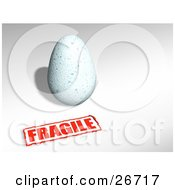 Clipart Illustration Of A Pale Blue Bird Egg With A Red Fragile Sticker by KJ Pargeter