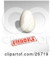 Clipart Illustration Of A Pale Yellow Bird Egg With A Red Fragile Sticker by KJ Pargeter