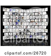 Clipart Illustration Of A Curved Gallery Of Different Images Of A White Character Doing Different Activities On A Black Background by KJ Pargeter