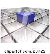 Clipart Illustration Of A Blue Cube Sticking Out From A Level Surface Of White Cubes Symbolizing Individuality by KJ Pargeter