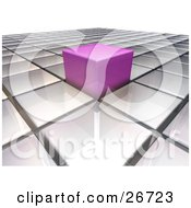 Clipart Illustration Of A Pink Cube Sticking Out From A Level Surface Of White Cubes Symbolizing Individuality