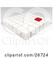 Clipart Illustration Of A Red Box In Rows Of Sealed White Cardboard Boxes Ready For Shipment by KJ Pargeter