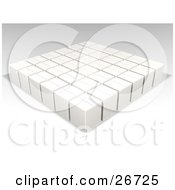 Clipart Illustration Of Sealed White Cardboard Boxes In A Warehouse by KJ Pargeter