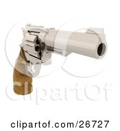 Clipart Illustration Of A Wooden Handled Hand Gun Pointing To The Right