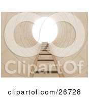 Clipart Illustration Of A Ladder Leading Up To Bright Light In A Hole Symbolizing Opportunity Or Escape