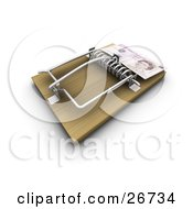 Clipart Illustration Of An English Pound On The Edge Of A Mouse Trap