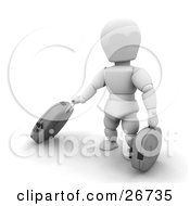 Clipart Illustration Of A White Character Pulling Along Rolling Gray Suitcases In An Airport