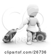 Clipart Illustration Of A White Character Pulling Rolling Luggage Through An Airport