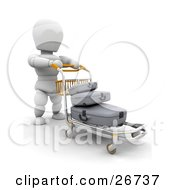 White Character Pushing His Luggage On A Trolley Through An Airport