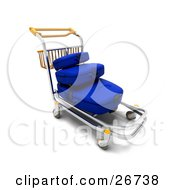 Clipart Illustration Of A Stack Of Blue Luggage On A Trolley In An Airport