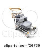 Clipart Illustration Of A Stack Of Gray Luggage On A Trolley In An Airport