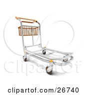 Clipart Illustration Of A Metal Luggage Trolley With A Basket In An Airport