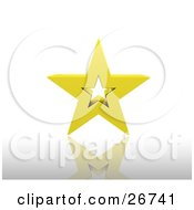 Clipart Illustration Of A Golden Star With A Hollow Center Resting On A Reflective White Surface