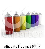 Cans Of Red Orange Yellow Green Blue Purple And White Spray Paint On A White Background