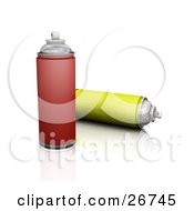 Two Cans Of Red And Yellow Spray Paint On A White Background
