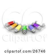 Clipart Illustration Of Cans Of White Purple Blue Green Yellow Orange And Red Spray Paint Resting On A White Background