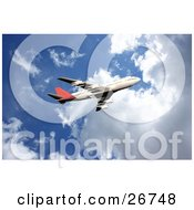 Clipart Illustration Of A Red And White Commercial Airliner Flying Through A Blue Cloudy Sky