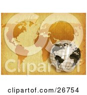 Grid Patterned White And Black Globe Over A World Map On Antique Parchment Paper