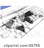 Clipart Illustration Of A White Laptop Computer Keyboard With A Black World Map Symbolizing International Business Or Travel Booking Online by KJ Pargeter