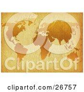 Orange World Map On Antique Parchment Paper
