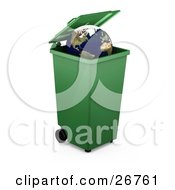Clipart Illustration Of The Earth Inside A Green Recycle Or Trash Bin Over White by KJ Pargeter