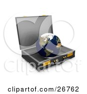 Clipart Illustration Of The World Inside An Open Business Briefcase Symbolizing Opportunities