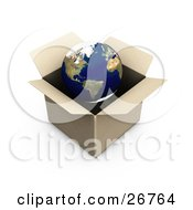 Clipart Illustration Of The World In A Cardboard Box On A White Background