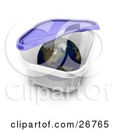 Clipart Illustration Of The World Inside A Tupperware Container The Lid Closing Down On It