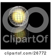 Clipart Illustration Of A Bright Golden Light Inside A Silver Wire Globe Resting On A Reflective Black Surface