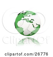 Clipart Illustration Of A Green Globe Of Planet Earth With White Continents Suspended Over A Reflective White Surface by KJ Pargeter