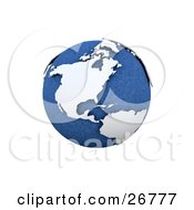 Clipart Illustration Of A Blue Globe Of Planet Earth With White Continents by KJ Pargeter