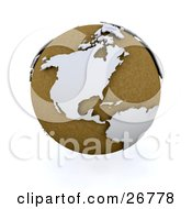 Clipart Illustration Of A Brown Globe Of Planet Earth With White American Continents by KJ Pargeter