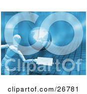 Clipart Illustration Of A White Figure Character Holding Out An Envelope Over A Blue Background With A Globe Grid Binary Code And Cubes