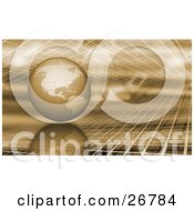 Clipart Illustration Of A Golden Globe Suspended Between Two Layers Of Grids