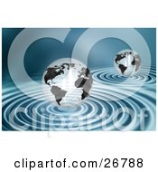 Clipart Illustration Of Two Transparent White And Black Globes Over Rippling Blue Water