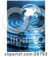 Clipart Illustration Of A Silver Wire Frame Earth Globe Surrounded By Blue Rippling Water