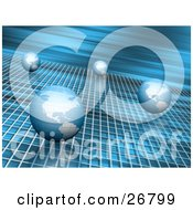 Clipart Illustration Of Four Blue Globes Rolling Past On A Grid With A Blurred Blue Background