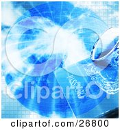 Clipart Illustration Of A Pair Of Glasses And Passport Over A Blue Globe With Bursting Bright Light And A Grid Pattern