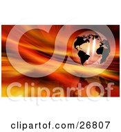 Clipart Illustration Of A Transparent Globe With Black Continents Suspended Over A Reflective Fiery Red And Orange Background