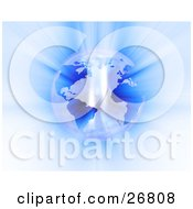 Clipart Illustration Of Bright Light Reflecting Off Of A Pearlescent Planet Earth With Blue Continents