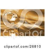 Clipart Illustration Of A Metal Wire Frame Globe Of Earth Over A Golden Background With Waves And Gold Light